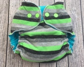 Cloth Diaper - Fitted Cloth Diaper - Medium Cloth Diaper - Large Cloth Diaper - Bamboo Cloth Diaper - Green and Gray Striped Diaper