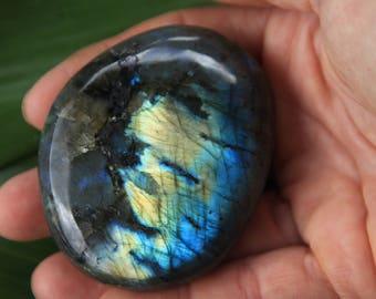 Labradorite palm stone, Madagascar ~ incredible color ~ hand piece ~ free form