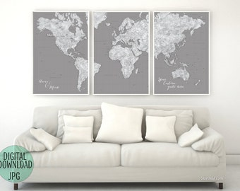 World map chalkboard etsy custom quote highly detailed world map printable with cities large world map 3 gumiabroncs Gallery