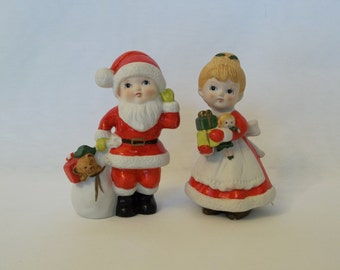 Homco 1970's Vintage Figurines, Boy and Girl Santa Figurines # 5401 Mr.and Mrs. Claus, Collectible Christmas Decor, Vintage Christmas