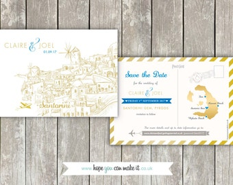 Destination Wedding - Love Airmail Santorini Illustration Save the Date Cards