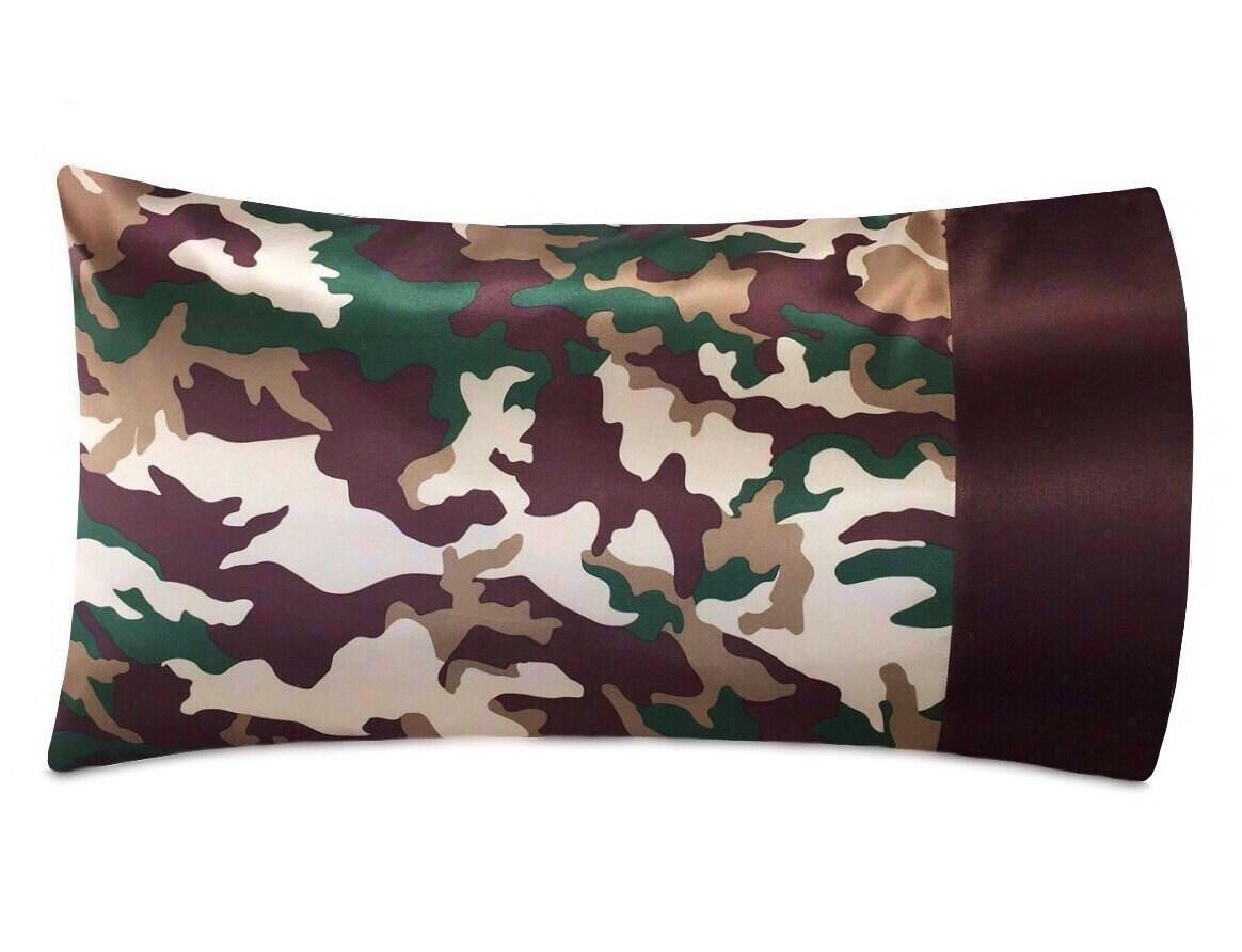 Green Amp Brown Camo Satin Pillowcase Luxury Camo Bedding