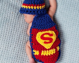 Crochet Newborn Superman Photo Prop/Cuddle Cape/Superhero/Infant Halloween Costume/Baby Shower Gift/Super Hero/Newborn Photography Prop