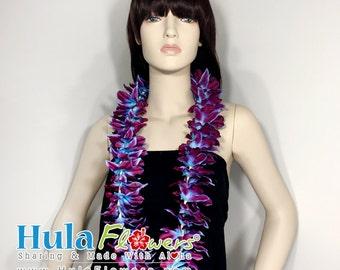 Silk Hawaiian Orchid Lei for Beach Wedding Party, Hula Dancer, Polynesian Accessories, LEI-20-OR-05