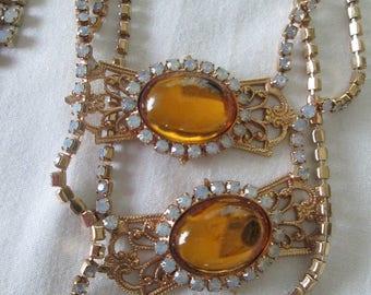 Moonstone Amber Filigree Rhinestone Necklace Set