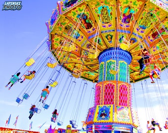 """Swing Ride Photograph, Color Photography, Carnival Ride Photo, Wall Art, Art Print, Colorful, Child's Room, """"Swing Ride"""""""