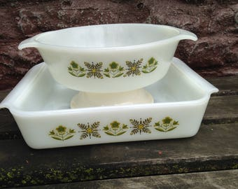 2 Anchor Hocking Meadow Green Ovenware Baking Dishes Set of Two