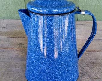 Blue Speckle Enamel Ware Tall Coffee Pot