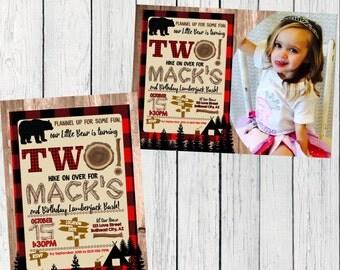 Lumberjack / Flannel Personalized birthday  invitation- ***Digital File*** (Lumber-TwoPic)