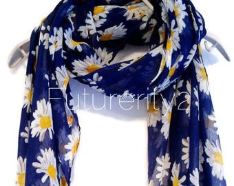 White Daisy Dark Blue Spring Scarf / Summer Scarf / Gift For Her / Womens Scarves / Fashion Accessories