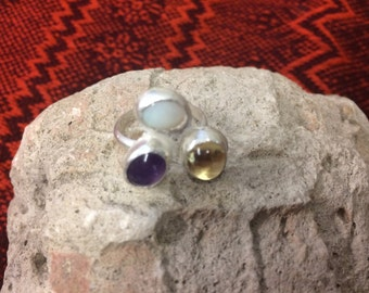 Sterling Silver  Ring with Australian Opal, Amethyst, and Citrine size 5.75