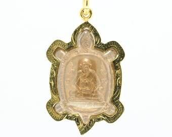 Thai Amulet pendant Magic Turtle LP Liw Buddha pendant  Good Luck Safe Charm.