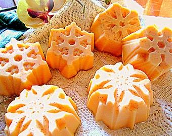 Sweet Georgia Peach And Goats Milk Soap~Peach And Chamomile~Snowflake Shaped Soap~Himalayan Pink Salt Bar~Women's Gifts~Stocking Stuffers