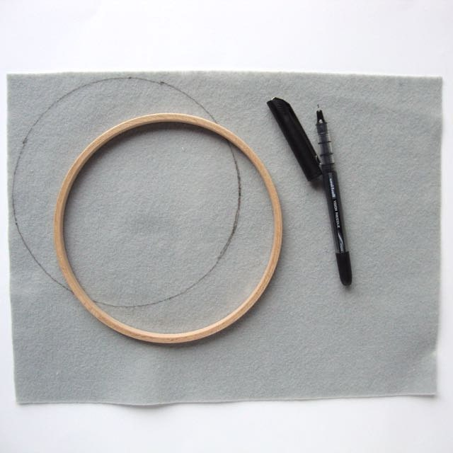 How to finish an embroidery hoop: trim your backing.