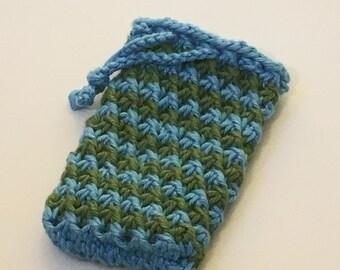 Soap Bag, Blue Green Soap Bag, Soap on a Rope, Cotton Soap Sack, Soap Sock, Knit Soap Holder, Body Scrubber, Wash Cloth