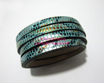 1Meter 5x2mm Flat leather cord Turquoise based mix color leather cord
