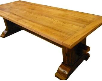 Farm House Table, 1800's wormy chestnut top