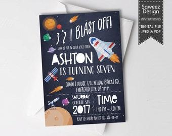 Space Invitation Space Birthday Invitation Rocket Ship Invitation Retro Rocket Invitation Outer space   - JPEG & PDF File