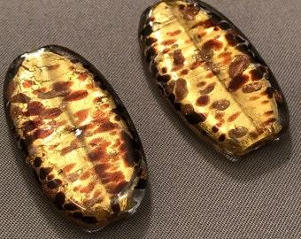 Two (2) Rectangular Murano Glass Beads