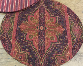4 Placemats: Round Chenille, Dark Red/Burgundy, Black Quatrefoil Moroccan Turkish Boho Ethnic