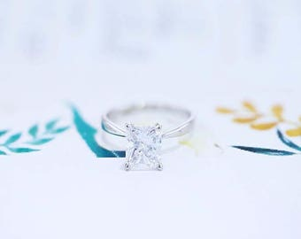 Solitaire Engagement Ring 3 Carat Radiant Cut Diamond Ring 18K White Gold FREE SHIPPING