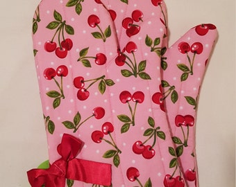 Pink Cherry Oven Mitts!