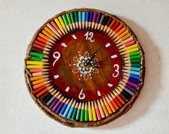 WOODEN wall clock COLOR pencil crayons and mandala 27 cm