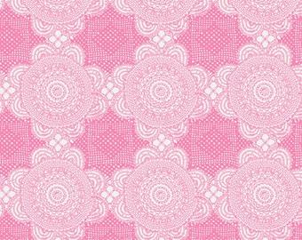 Pink Doily Fabric, Gembrook Fabric by the Yard, Ella Blue Fabrics, Roasalie Dekker, Cotton Linen Fabric, Modern Quilt Fabric, TE 1061 P