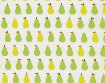 London Calling 7, Cotton Lawn Fabric, Pear Fabric, Robert Kaufman Fabrics, Fruit Lawn, White/Green Cotton Lawn, Apparel Fabric, L2070024
