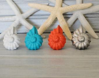 Nautilus Sea Shell Drawer Pulls. Sea Shell Knob. Nautilus Handle. Cabinet Knob. Dresser Knob. Beach, Coastal, Shabby Chic. Nautical Nursery