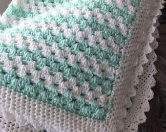Handmade Crochet baby blanket, Mint Green & White, Perfect baby shower gift