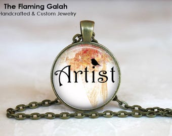 ARTIST Pendant •  BoHo Word Jewlery •  Gift for Painter •  Artist Gift • Gift Under 20 • Made in Australia (P1342)