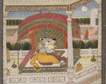 Love in Moonlight - Indian Miniature Painting printed reproduction, 1962