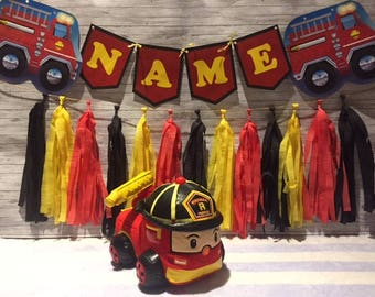 Fire Truck Birthday Party Wall Tassel Garland and Bunting Banner, Handmade Decorations