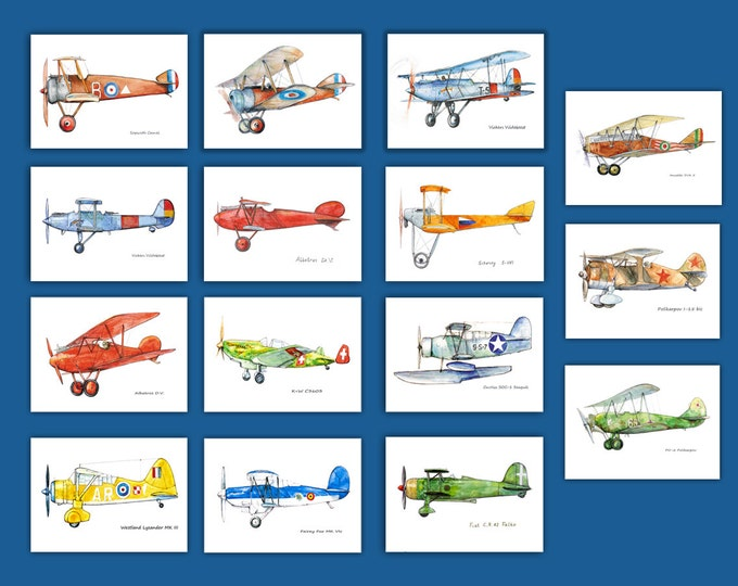 Airplane decor nursery ANY Set 8x10 prints YOUR choice Popeller military airplane Retro aviation Boys nursery wall aviation theme art