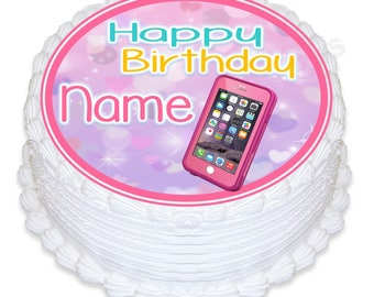 "ND3 pink iphone round 7.5"" icing cake topper"