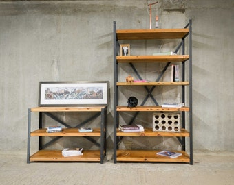 GRAVIS   Industrial Bookcase Shelving Unit   Reclaimed Timber
