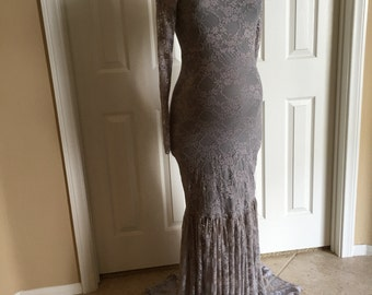 """Gray Off Shoulders Long Sleeves Lining Maternity Gown """"Mermaid"""" Slim Fit Maternity Dress, Maternity Dress, Maternity Photo Props"""