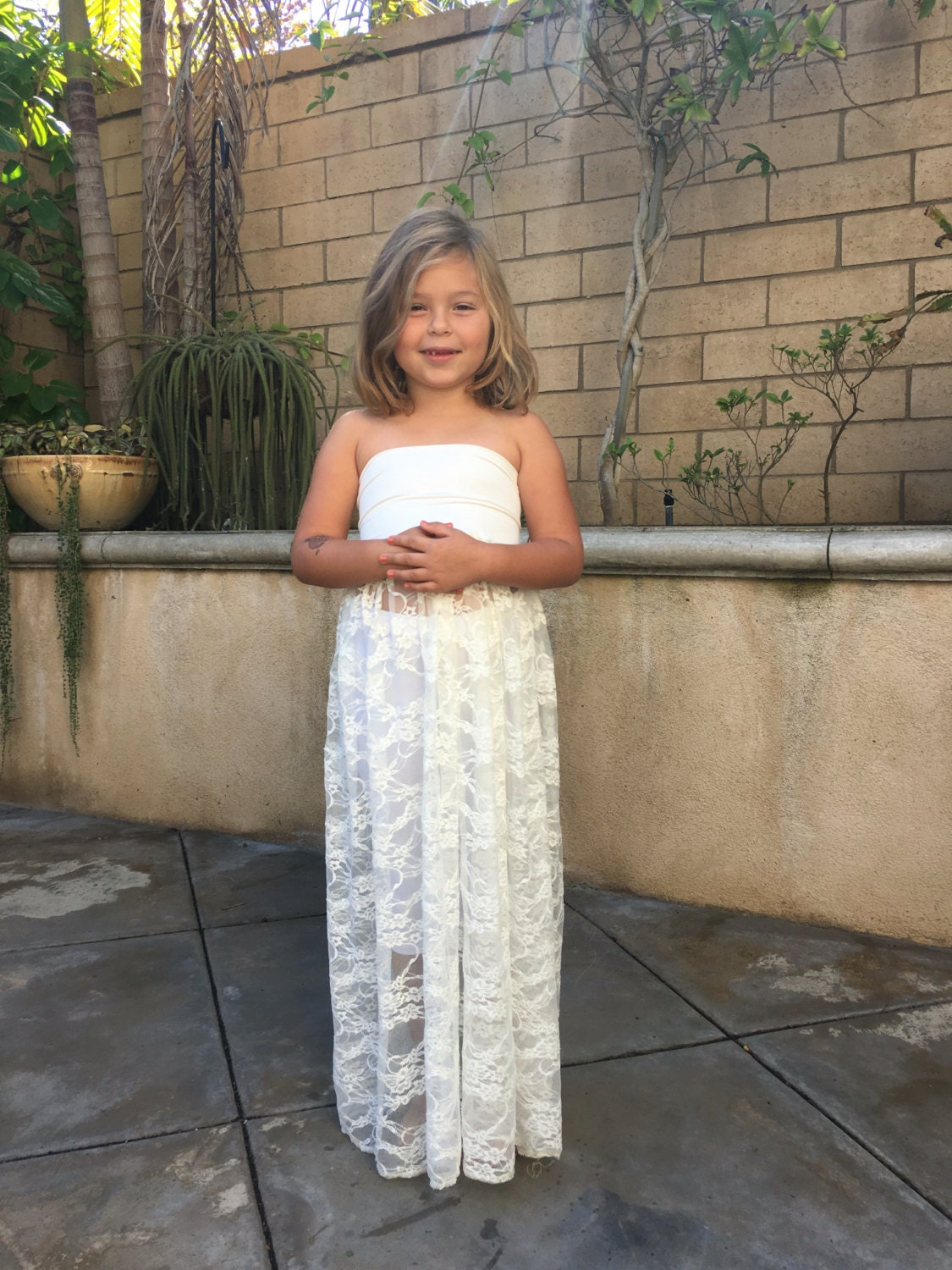 White Girl lace dress, Children lace gown/Matching with stretchy ...