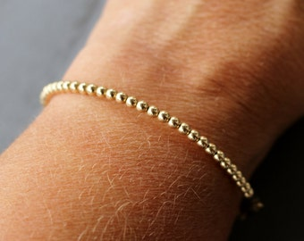 Gold beaded bracelet, 14k gold filled bracelet, simple gold bracelet, stacking bracelet, women's bracelet, teen bracelet gifts for her