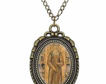 St Nicola Pellegrino Catholic Necklace Bronze Medal w Chain Oval Pendant Saint Vintage