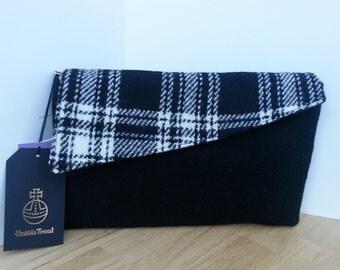 Black Harris Tweed Clutch Evening Bag