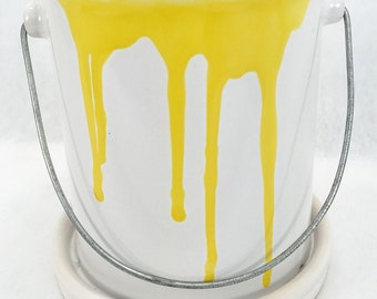 "Glazed Ceramic Paint Can Pot/Saucer - Yellow - 4 1/2"" x 4 1/2"" + Felt Feet"