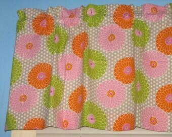 Swirl Floral Spring dale Blush Orange Pink Tan Lime Green Curtain Valance