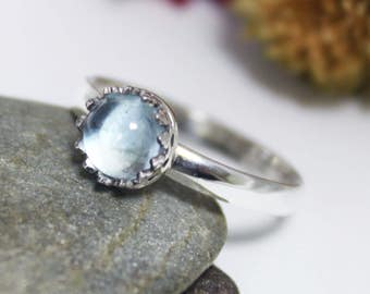 6mm Swiss Blue Topaz Ring, Statement Ring, Blue Topaz Ring, Cute Ring, Simple Blue Gemstone Ring, Dainty Blue Gemstone Ring, Solitaire Ring