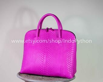 Python HandBag Handmade Exotic SnakeSkin Genuine Leather Woman Tote Bag Purse Fuchsia Pink