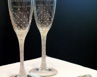 Crystal clear Rhinestones Wedding Flutes set,champagne flutes &set for cake, Swarovski Crystals, Luxury traditional, champagne glasses, 4pcs