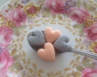 100 Blush /Silver Grey Heart Shaped Sugar Cubes