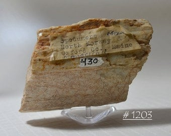 RARE.  Vintage Spodumene Crystal from Oxford County, Maine, with Original Cataloging Number and Attached Label - Ex. Brandt Collection