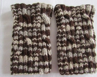 Brown Boot Cuffs - Boot Toppers - Knitted Boot Cuffs -  Women's Boot Cuffs - Cable Boot Toppers - Knitted Leg Warmers - READY TO SHIP